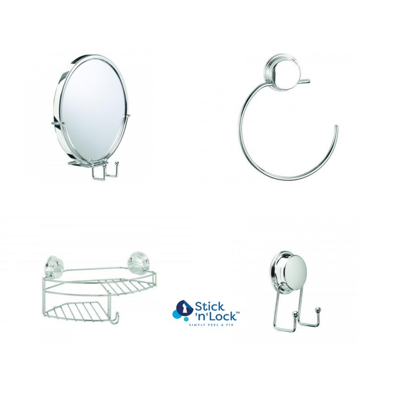 Stick N Lock Semi Permanent Bathroom Wall Accessories